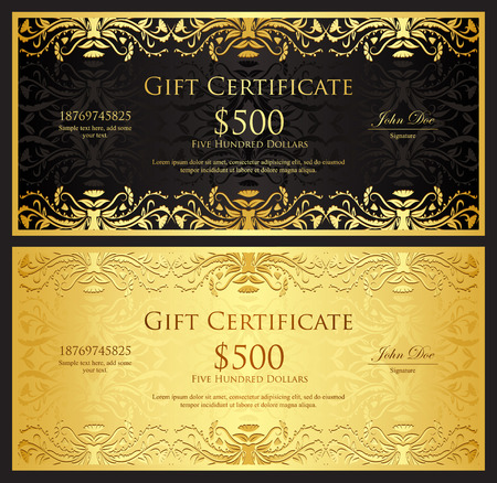 Illustration for Luxury golden gift certificate in vintage style - Royalty Free Image