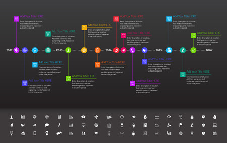 Illustration pour Modern flat timeline with exact date and milestones with icons and colors of rainbow - image libre de droit