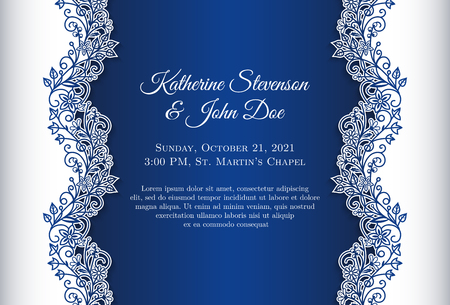 Illustration for Romantic wedding invitation with blue background and floral ornament as decoration - Royalty Free Image