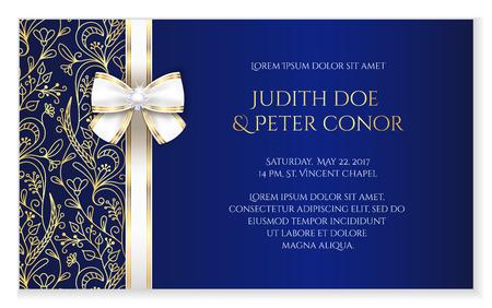 Illustration pour Royal blue romantic wedding announcement with golden floral ornament - image libre de droit