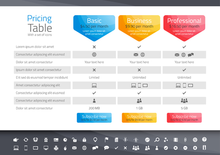 Illustration pour Light pricing table with 3 options. Icon set included - image libre de droit