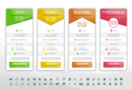 Illustration pour Light pricing list with 4 options. Different shapes of tables. Icon set included - image libre de droit