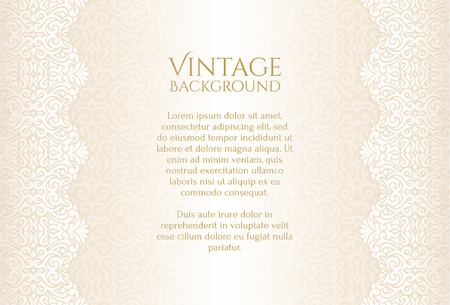 Illustration for Champagne luxury vintage background with floral ornament - Royalty Free Image