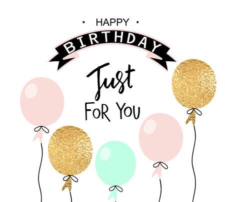 Ilustración de Happy birthday greeting card and party invitation template with balloons. Vector illustration. - Imagen libre de derechos