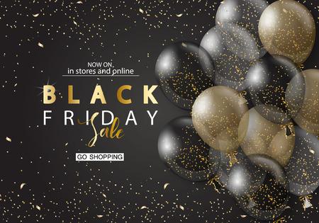 Ilustración de Black friday sale background with transparent realistic balloons. Modern design.Universal vector background for poster, banners, flyers, card - Imagen libre de derechos