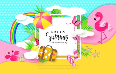 Ilustración de Hello Summer banner with Sweet Vacation Elements. Paper Art. Tropical plants, butterflies,pink flamingo, pineapple, crab, rainbow,flip flops, umbrella, suitcase,watermelon,starfish, clouds. Vector. - Imagen libre de derechos