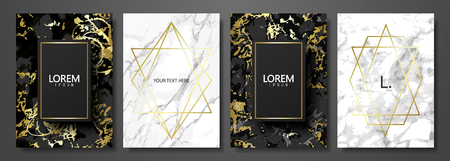 Illustration pour Luxury cards collection with marble texture and gold geometric shape.Vector trendy background. Modern set of abstract card, template,posters,invitational. - image libre de droit