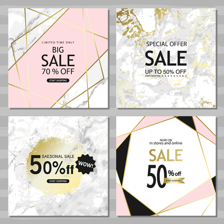 Illustration pour Modern geometric social media banners with golden lines, triangles, marble texture background. Square template for design card, flyer, invitation, party, birthday, wedding, website. - image libre de droit
