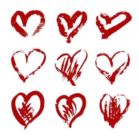 Ilustración de Hand drawn vector heart set with different tools like brushes, chalk, ink - Imagen libre de derechos