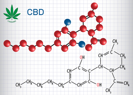 Illustration pour Cannabidiol (CBD) - structural chemical formula and molecule model. Active cannabinoid in cannabis, has anti-psychotic effects. Sheet of paper in a cage vector illustration. - image libre de droit