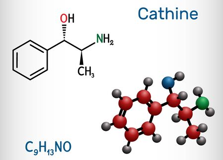Illustration for Cathine, norpseudoephedrine, C9H13NO molecule. It is alkaloid, psychoactive drug with stimulant properties.  it is found naturally in Catha edulis, khat. Structural chemical formula and molecule model. Vector illustration - Royalty Free Image