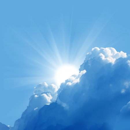 Photo for blue sky with sun and beautiful clouds  - Royalty Free Image