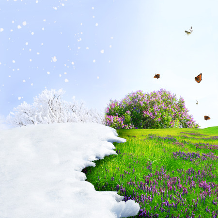 Photo for Season change from winter to spring - Royalty Free Image