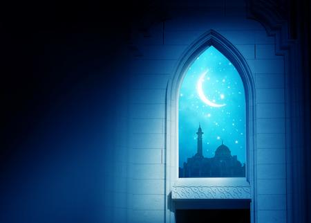 Foto de Ramadan Kareem background.Mosque window with shiny crescent moon - Imagen libre de derechos