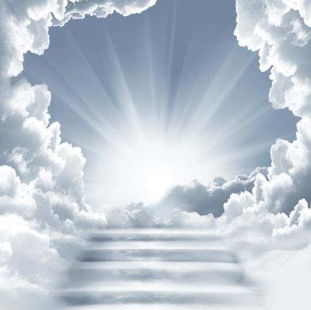 Photo pour Stairway to Heaven.Stairs in sky.  Concept with sun and white clouds.Concept  Religion  background - image libre de droit