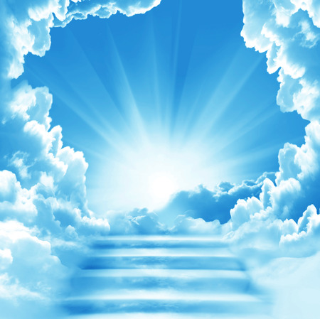 Photo for Stairway to Heaven.Stairs in sky.  Concept with sun and white clouds.Concept  Religion  background - Royalty Free Image
