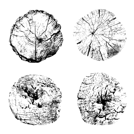 Ilustración de Top view of cut tree trunks isolated on white background. Textures of wood stumps with rings. Black and white vector illustration - Imagen libre de derechos