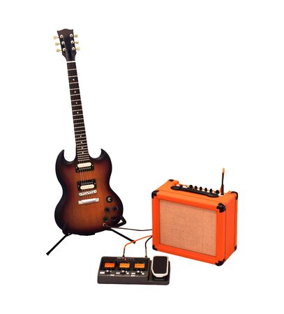Photo for Set of electric guitar, combo amplifier and processor isolated on white background - Royalty Free Image