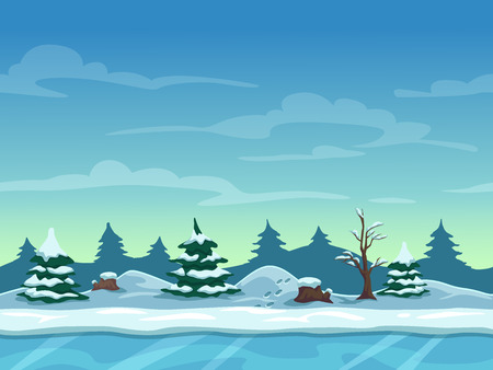 Illustration pour Seamless cartoon winter landscape, unending background with ice, snow hills and cloudy sky layers - image libre de droit