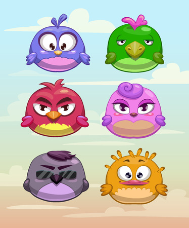 Illustrazione per Set of funny round birds characters on the cloudy sky background - Immagini Royalty Free