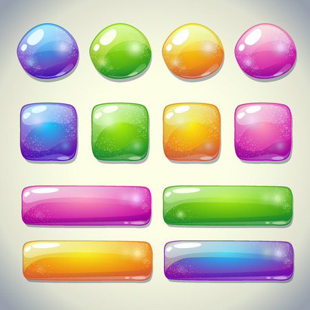 Illustration pour Set of cartoon glossy buttons for game or web design - image libre de droit