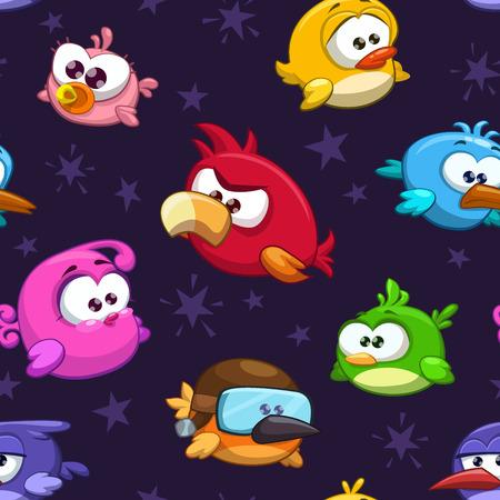Illustrazione per Seamless pattern with funny cartoon birds - Immagini Royalty Free