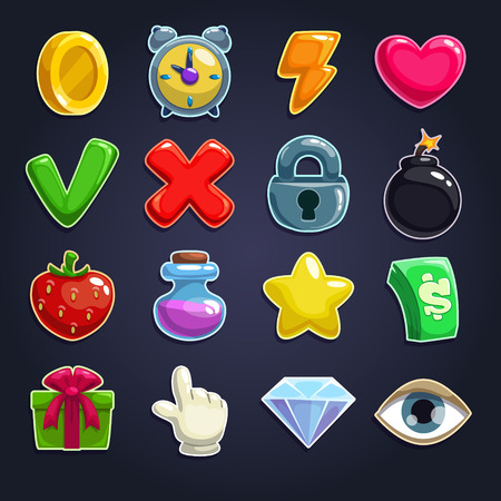 Illustration pour Cartoon icons for game user interface, vector set - image libre de droit