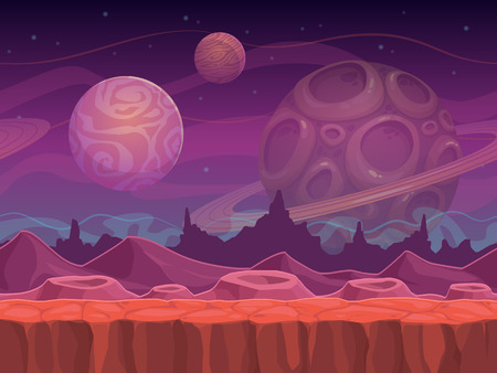 Illustration pour Alien fantastic landscape, seamless space background, separated layers for game design. - image libre de droit