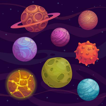 Ilustración de Set of cartoon fantastic planet on space background - Imagen libre de derechos