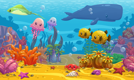 Illustration pour Seamless underwater cartoon vector illustration - image libre de droit