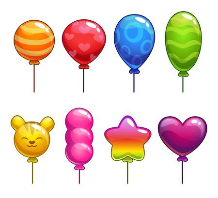 Illustration pour Set of cute cartoon balloons, with different shapes and colors - image libre de droit