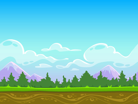Illustration pour Seamless cartoon nature landscape, vector unending background with grass, forest, mountains and sky layers - image libre de droit