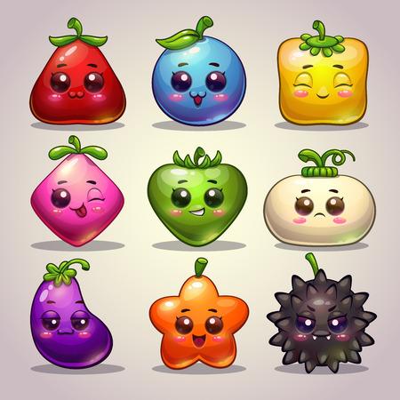 Cute cartoon plant characters