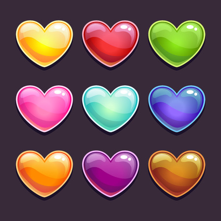 Cute cartoon glossy hearts in different colors