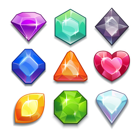Illustration pour Cartoon vector gems and diamonds icons set in different colors with different shapes, isolated on the white background. - image libre de droit