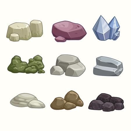 Illustration pour Set of cartoon stones and minerals - image libre de droit