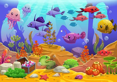 Underwater world, cartoon vector illustration