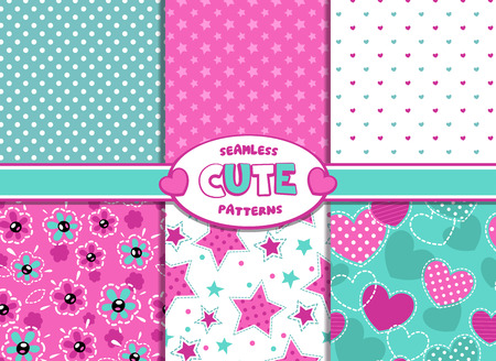 Ilustración de Set of cute girlish vector seamless pattern - Imagen libre de derechos