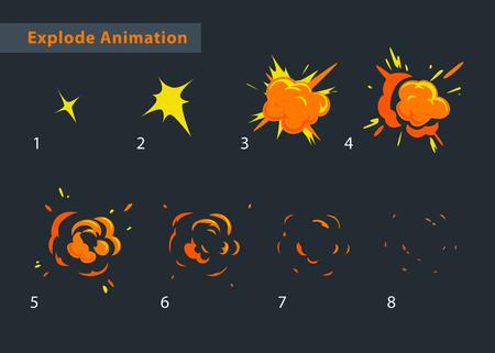 Ilustración de Explode effect animation. Cartoon explosion frames - Imagen libre de derechos
