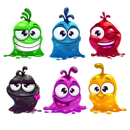 Funny cartoon liquid characters, vector illustration, isolated on white