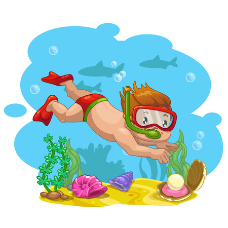 Ilustración de Little boy finds a shell with a pearl at the bottom of the sea, vector cartoon illustration - Imagen libre de derechos