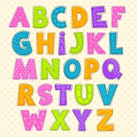 Ilustración de Cute funny childish alphabet. Vector font illustration - Imagen libre de derechos