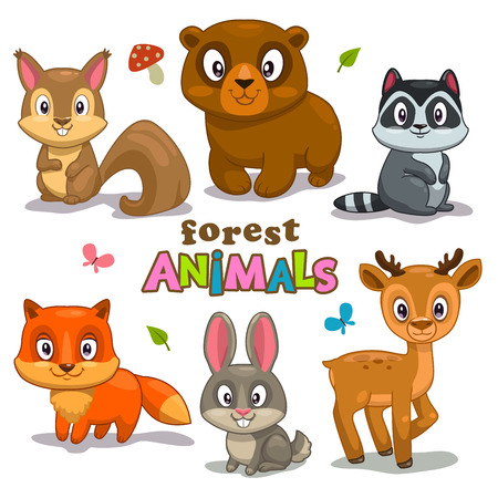 Set of cute cartoon forest animals, childish vector illustration