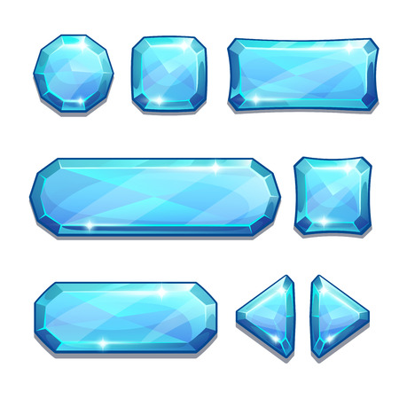 Illustration pour Set of blue crystal buttons, isolated on white - image libre de droit