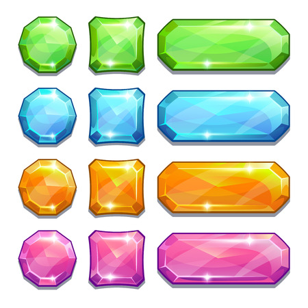 Illustration pour Set of cartoon colorful crystal buttons for game or web design, isolated on white - image libre de droit