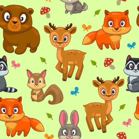 Seamless pattern with cute cartoon forest animals, childish vector illustration