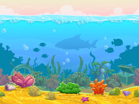 Ilustración de Underwater seamless landscape, neverending vector bottom illustration, cartoon background for game design - Imagen libre de derechos