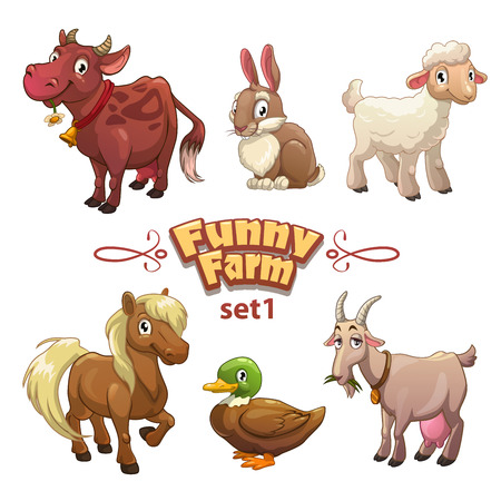 Photo pour Funny farm illustration, vector farm animals,isolated on white - image libre de droit