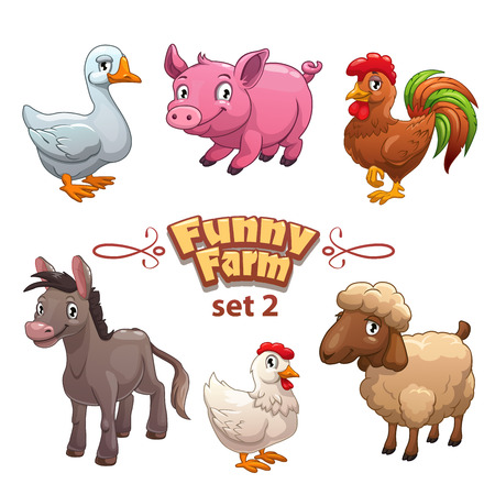 Foto per Funny farm illustration, vector farm animals,isolated on white - Immagine Royalty Free
