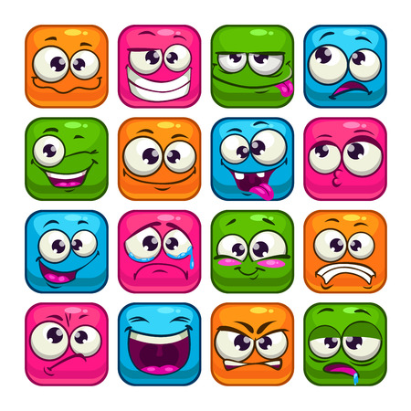 Illustrazione per Funny colorful square faces set, cartoon vector avatars - Immagini Royalty Free